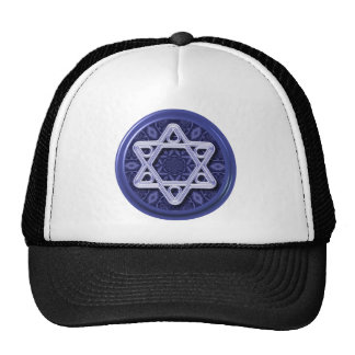 Star of David Silver on Blue Hat