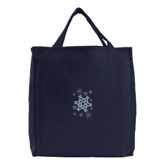 Star of David Snowflake Embroidered Tote Bag