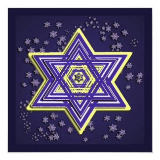 Star of David Square Hanukkah Cards Invitations
