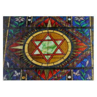 Star of David Stained Glass Cutting Board