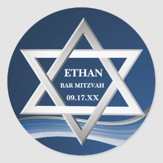 Star of David Steel Wave Bar Mitzvah Classic Round Sticker
