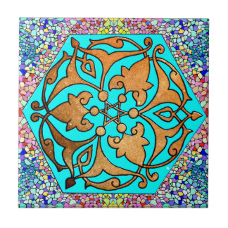 Star of David Turquoise Floral Tile