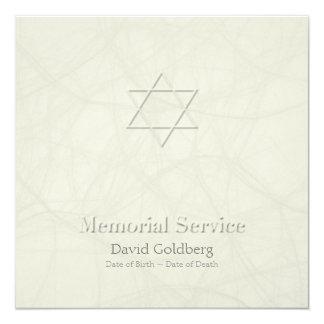 Star of David wit embossed effect Memorial Service Card