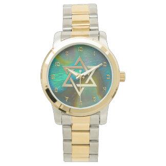 Star of David with Abalone Background Wristwatch