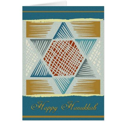 Star of David woodcut-Hanukkah Greeting Card