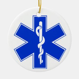 Star of Life / EMT Symbol Round Ceramic Decoration