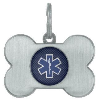 Star of Life Paramedic Carbon Fiber Style Pet Tag
