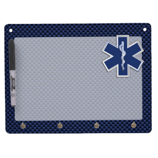 Star of Life Paramedic EMS on Blue Carbon Fiber Dry Erase Board With Key Ring Holder