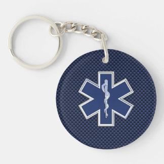 Star of Life Paramedic on Navy Blue Carbon Fiber Key Ring
