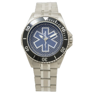 Star of Life Paramedic on Navy Blue Carbon Fiber Watch