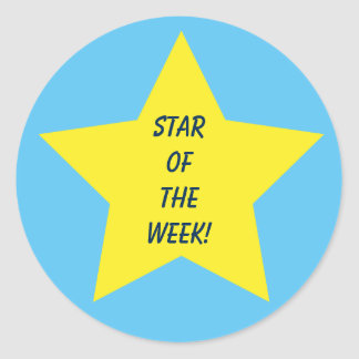Star of the Week Blue and Yellow Star Classic Round Sticker