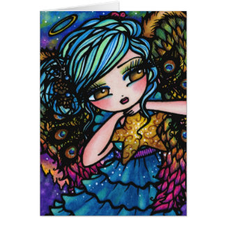Star of Wonder Peacock Angel Christmas Fantasy Card
