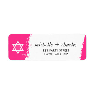 STAR OR DAVID stylish brush stroke bright hot pink Return Address Label