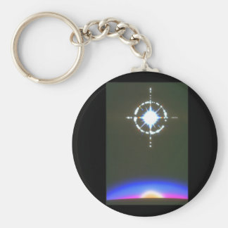 Star over Planet. (star;planet;_Space Scenes Basic Round Button Key Ring