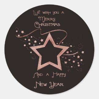 Star Patch (solid) Round Sticker
