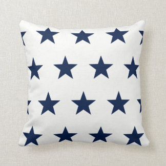 Star Pattern, Blue and White, Nautical Cushion
