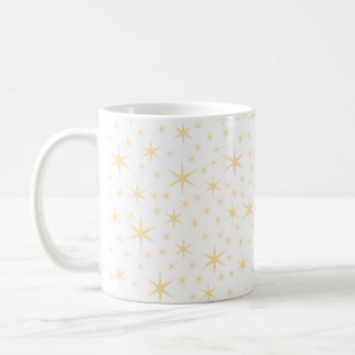Star Pattern, White and Non-metallic Gold Color. Coffee Mug