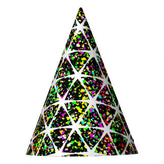 Star Pattern With Paint Splatter Party Hat