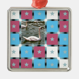 Star Pattern with Photograph Silver-Colored Square Decoration