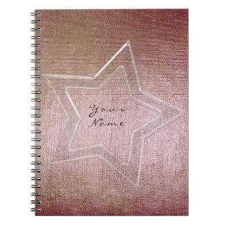Star Pink Rose Gold Powder Metallic Brush Notebook