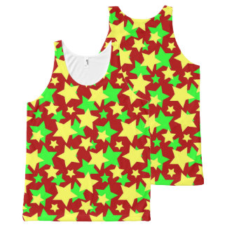 STAR POWER GREEN YELLOW PARADE in RED!.jpg All-Over Print Tank Top