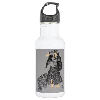 Star Princess Walking a Wet Tiger Fantasy B/W Art 532 Ml Water Bottle