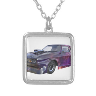 Star Purple Racing Car Silver Plated Necklace