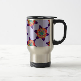 Star Quilt in Purple and Orange Stainless Steel Travel Mug