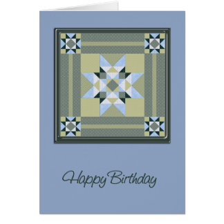 Star Quilt Square in Blue & Greens Birthday Card