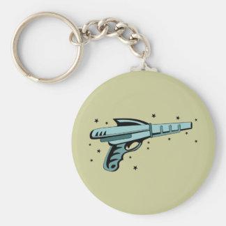 Star Ray Gun Laser Pistol Basic Round Button Key Ring
