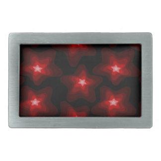 Star red black 4 rectangular belt buckle