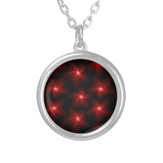 Star red black 4 silver plated necklace