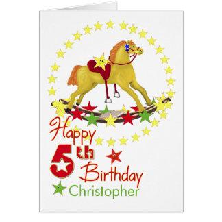 Star Rocking Horse 5th Birthday Card