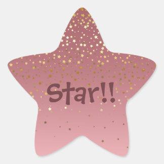 """Star"" Rose Gold Sparkling Stars Star Sticker"