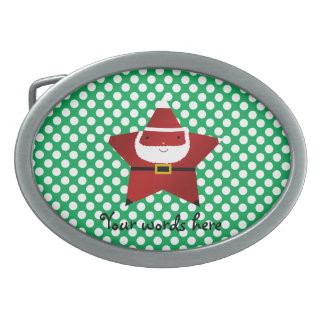 Star santa with green and red polka dots oval belt buckle