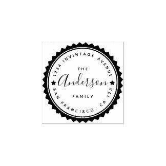 Star & Script Round Typography Return Address Rubber Stamp