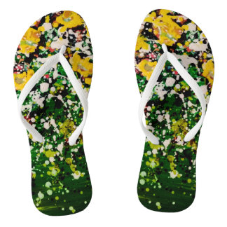 Star Seed Green Splatter Paint Flip Flops Thongs