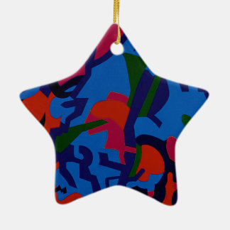 Star shape colourful Abstract Art tree decorations Ceramic Star Decoration