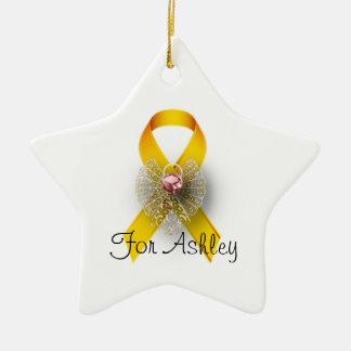 Star Shaped Angel Childhood Cancer Awareness Ceramic Ornament