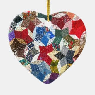 Star shaped quilt ceramic heart decoration