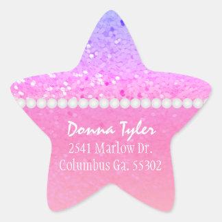 Star Shaped: Rainbow Glitter: Address Stickers