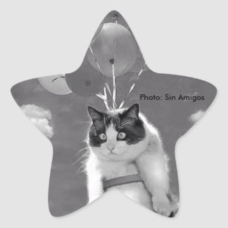 Star-shaped Sticker:Funny cat flying with Balloons Star Sticker