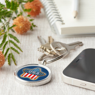 Star-Shaped US Flag Silver-Colored Round Key Ring