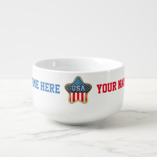 Star-Shaped US Flag Soup Bowl With Handle