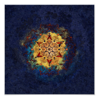 Star Shine Blue and Gold Poster Print