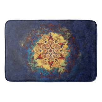 Star Shine in Gold and Blue Bath Mat