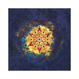 Star Shine in Gold and Blue Canvas Print
