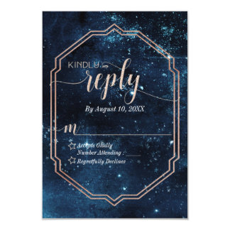 Star Sky Celestial Galaxy Wedding Reply RSVP Card
