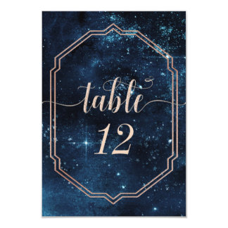 Star Sky Celestial Galaxy Wedding Table Numbers Card