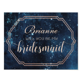 Star Sky Celestial Night Will You Be My Bridesmaid Card